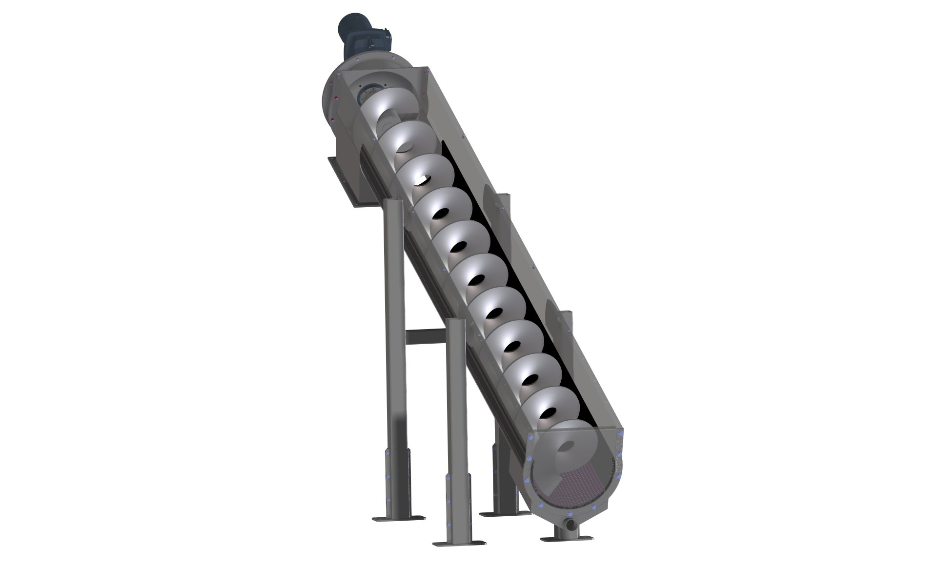 Spiral conveyor inclined, conveyed material: Sewage sludge